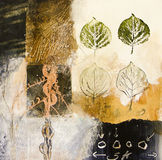 Mixed media abstract with leaf shapes Stock Photography