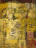 Mixed media abstract painting with text and wax Stock Image