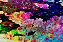 Mixed media artwork, abstract colorful artistic painted layer in blue, green, yellow, purple color palette on grunge black cracks stock photo