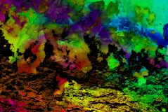 Mixed media artwork, abstract colorful artistic painted layer in blue, green, yellow, purple color palette on grunge texture stock photography