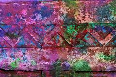 Mixed media artwork, abstract colorful artistic painted layer in pink, green color palette on grunge wall texture. With decorative lines photography background stock photos