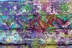 Mixed media artwork, abstract colorful artistic painted layer in purple, turquoise, red color palette on grunge wall texture. With decorative lines photography royalty free stock images