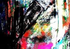 Mixed Media Background Painting brushstrokes. A colorful, mixed media, background painting of weathered brushstrokes Stock Photography