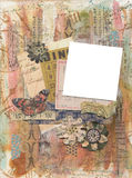 Mixed Media grungy artistic painted collage scrapbook background photo frame Stock Photo