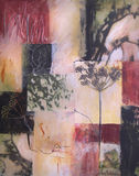 Mixed media painting with collaged nature elements Stock Photography