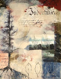 Mixed media painting with collaged photographs. Layered mixed media painting with collaged photographs of winter trees. All parts have been created by the stock illustration