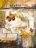 Mixed media painting with grape vines Stock Images