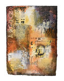 Mixed media painting on handmade paper stock photos