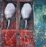 Mixed media painting with poppies Stock Photography