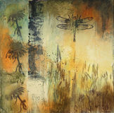 Mixed media painting with reeds and dragonfly