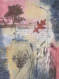 Mixed media painting with tree and oak leaves Stock Photos