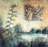 Mixed media painting of trees and river. Original mixed media painting of trees and reeds along a river with abstract qualities and plenty of spatter. Created stock photos