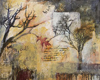 Mixed media painting with winter trees stock illustration