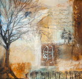 Mixed media painting with winter trees