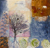Mixed Media Painting With Trees And Leaves Royalty Free Stock Photos