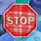 Mixed Media Stop Sign Illustration. A mixed media collage painting of a red stop sign, made with paint and textures Royalty Free Stock Image