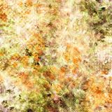 Mixed media texture. Digital painting. In green, red and orange colors on pale background stock illustration