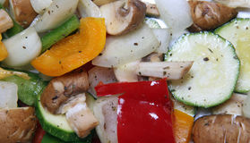 Mixed Mediterranean Vegetables. A selection of freshly prepared vegetables ready for roasting Royalty Free Stock Photo