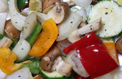 Mixed Mediterranean Vegetables. A selection of freshly prepared vegetables ready for roasting Royalty Free Stock Images