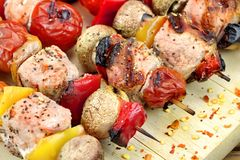 Mixed Meet, Mushrooms And  Vegetables BBQ Grilled Kebabs Royalty Free Stock Images