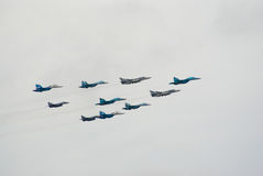 Mixed military jet formation Royalty Free Stock Image