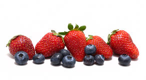 Mixed Mixed Strawberry and Blueberry on white Stock Images