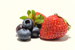 Mixed Mixed Strawberry and Blueberry on white Royalty Free Stock Image