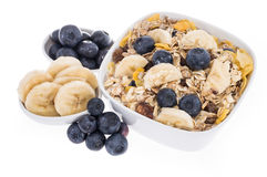 Mixed Muesli with Blueberries and Bananas Stock Photos