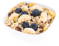 Mixed Muesli with Blueberries and Bananas Royalty Free Stock Images