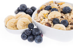 Mixed Muesli with Blueberries and Bananas Royalty Free Stock Photos