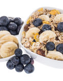 Mixed Muesli with Blueberries and Bananas Royalty Free Stock Image