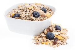 Mixed Muesli in a bowl isolated on white Stock Image