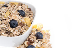 Mixed Muesli in a bowl isolated on white Royalty Free Stock Photos