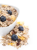 Mixed Muesli in a bowl isolated on white Royalty Free Stock Image