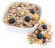 Mixed Muesli in a bowl isolated on white Royalty Free Stock Photography
