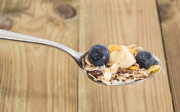 Mixed Muesli On A Spoon Stock Images