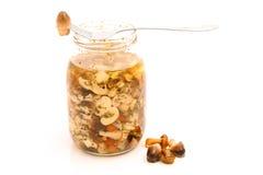 Mushrooms. Mixed mushrooms marinated in glass jar Royalty Free Stock Photos