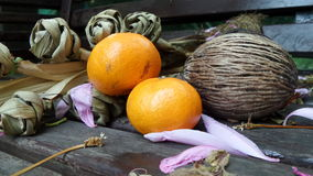 Mixed from nature Oranges Pong-pong fruits  and pandanus leaves Stock Photo
