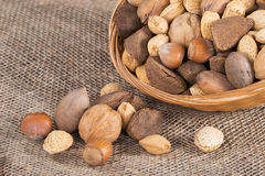 Mixed nut basket Royalty Free Stock Images