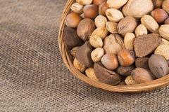 Mixed nut basket Stock Image