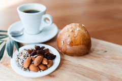 Mixed nut and coffee cup Royalty Free Stock Photos