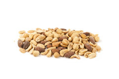 Mixed Nut Kernels. Handful of nuts on white board Stock Images