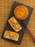 Mixed nut moon cake. Traditional chinese mixed nut moon cake royalty free stock image