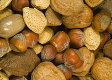 Mixed Nuts. Close up of assorted mixed nuts royalty free stock photography