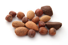 Mixed nuts. On a plain white background Royalty Free Stock Photo