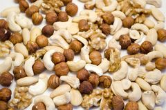 Mixed nuts. Almonds, hazel, cashew backgound Royalty Free Stock Image