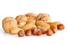 Mixed Nuts. With shells on white stock images