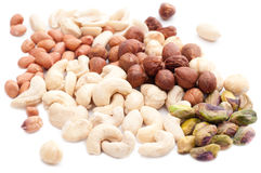 Mixed Nuts. On white background Royalty Free Stock Photos