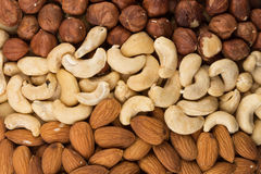 Mixed nuts background above closeup Royalty Free Stock Image