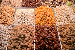 Mixed nuts background. In Barcelona market Royalty Free Stock Photo